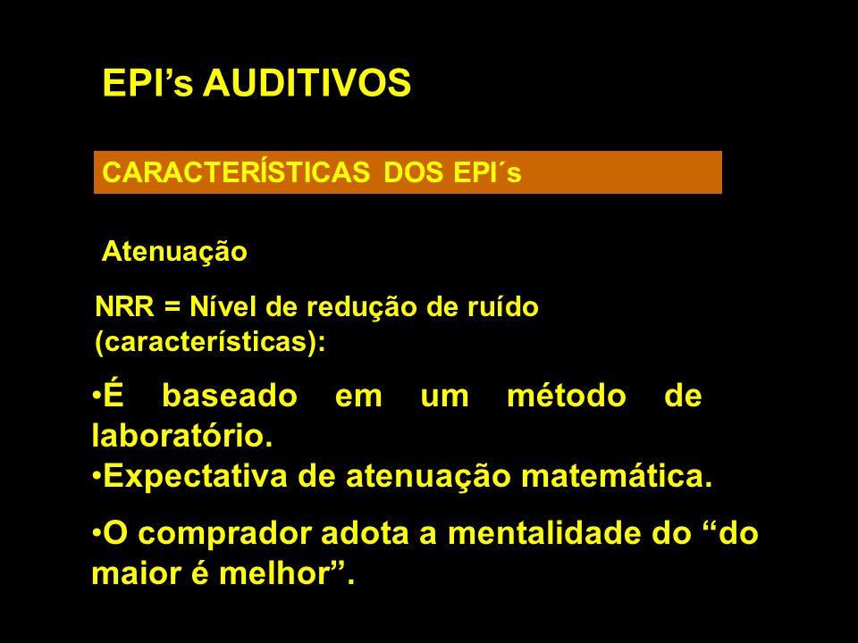 EPIs AUDITIVOS CARACTERÍSTICAS DOS EPI´s Atenuação NRR = Nível de redução de ruído (características): É baseado em um método de laboratório. Expectati