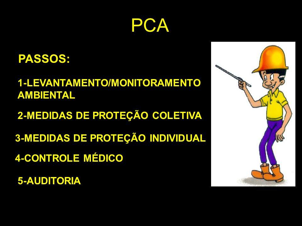 PCA PASSOS: 1-LEVANTAMENTO/MONITORAMENTO AMBIENTAL 2-MEDIDAS DE PROTEÇÃO COLETIVA 3-MEDIDAS DE PROTEÇÃO INDIVIDUAL 4-CONTROLE MÉDICO 5-AUDITORIA