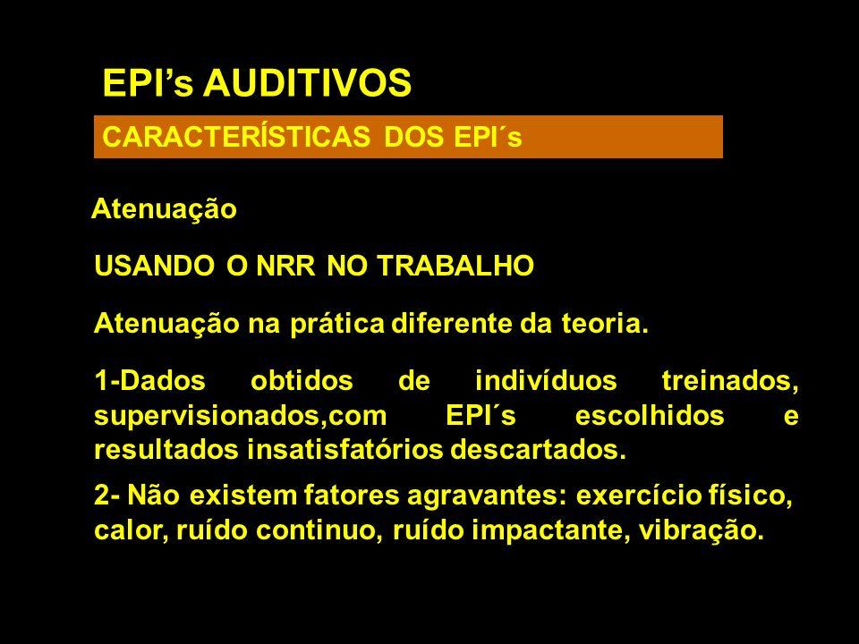 EPIs AUDITIVOS CARACTERÍSTICAS DOS EPI´s Atenuação USANDO O NRR NO TRABALHO Atenuação na prática diferente da teoria. 1-Dados obtidos de indivíduos tr