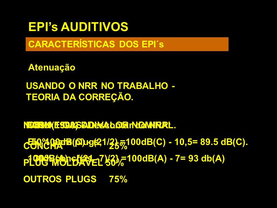 EPIs AUDITIVOS CARACTERÍSTICAS DOS EPI´s Atenuação USANDO O NRR NO TRABALHO - TEORIA DA CORREÇÃO. OSHA: 50% DO VALOR NOMINAL. Ex: 100dB(C) - (21/2) =1