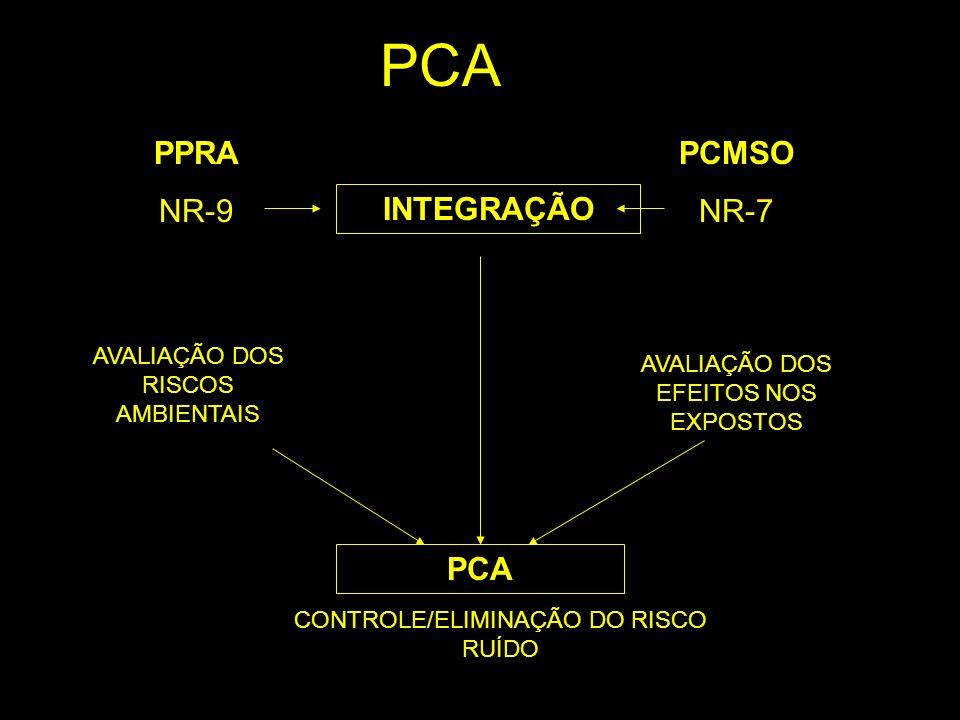 PPRA NR-9 AVALIAÇÃO DOS RISCOS AMBIENTAIS PCMSO NR-7 AVALIAÇÃO DOS EFEITOS NOS EXPOSTOS CONTROLE/ELIMINAÇÃO DO RISCO RUÍDO PCA INTEGRAÇÃO