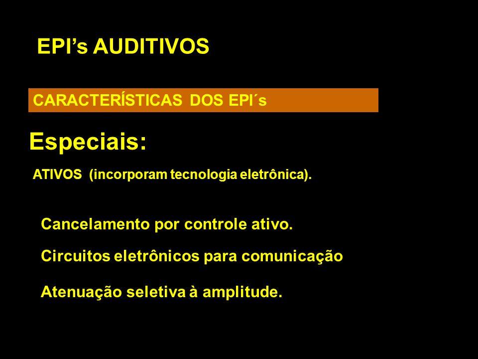 EPIs AUDITIVOS CARACTERÍSTICAS DOS EPI´s Especiais: Atenuação seletiva à amplitude. ATIVOS (incorporam tecnologia eletrônica). Cancelamento por contro