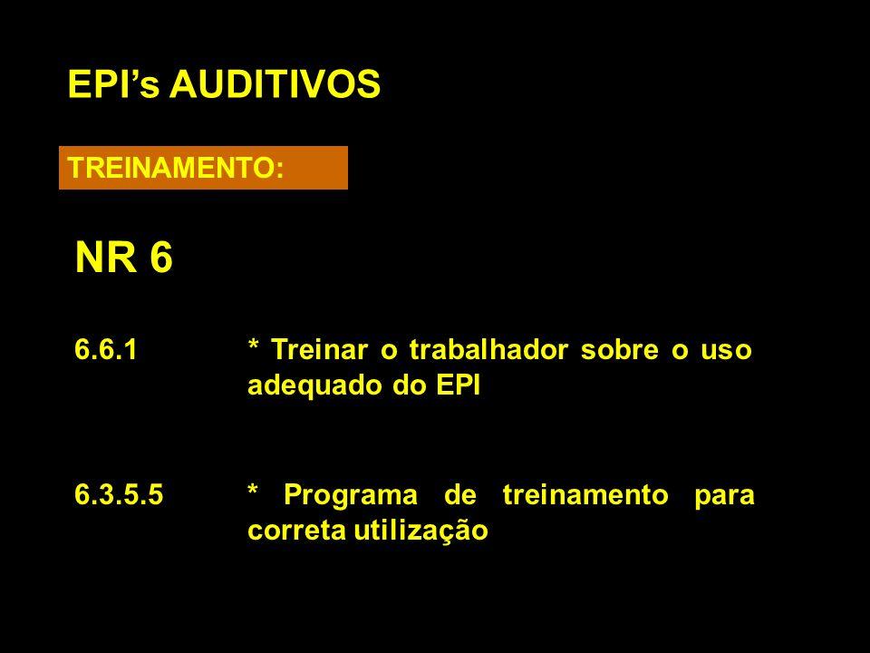 6.6.1* Treinar o trabalhador sobre o uso adequado do EPI 6.3.5.5* Programa de treinamento para correta utilização EPIs AUDITIVOS TREINAMENTO: NR 6