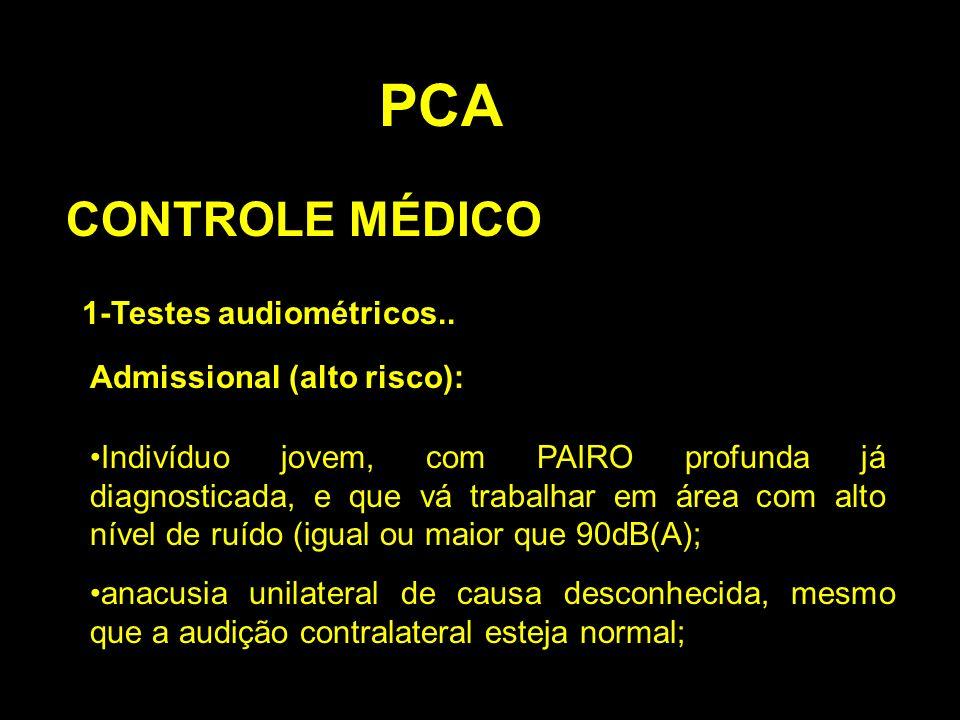 PCA CONTROLE MÉDICO 1-Testes audiométricos.. Admissional (alto risco): Indivíduo jovem, com PAIRO profunda já diagnosticada, e que vá trabalhar em áre