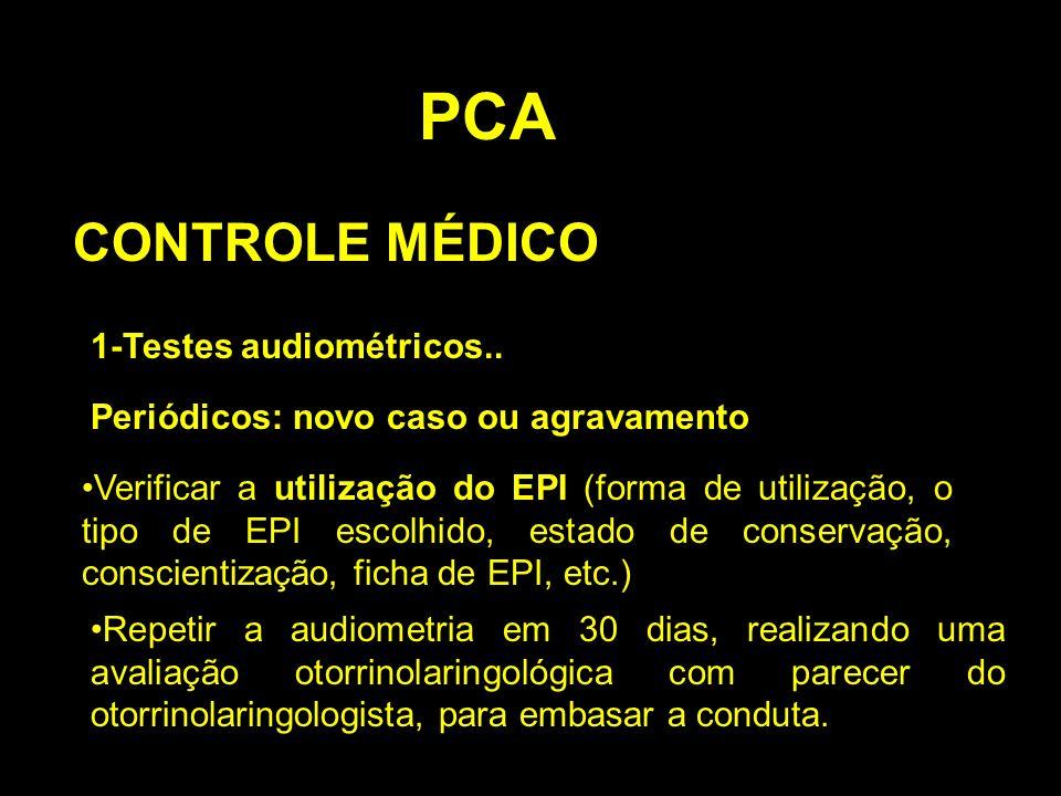PCA CONTROLE MÉDICO 1-Testes audiométricos.. Periódicos: novo caso ou agravamento Verificar a utilização do EPI (forma de utilização, o tipo de EPI es