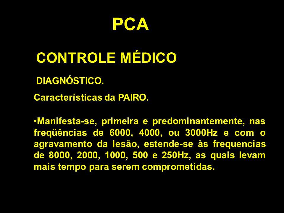 PCA CONTROLE MÉDICO DIAGNÓSTICO. Características da PAIRO. Manifesta-se, primeira e predominantemente, nas freqüências de 6000, 4000, ou 3000Hz e com