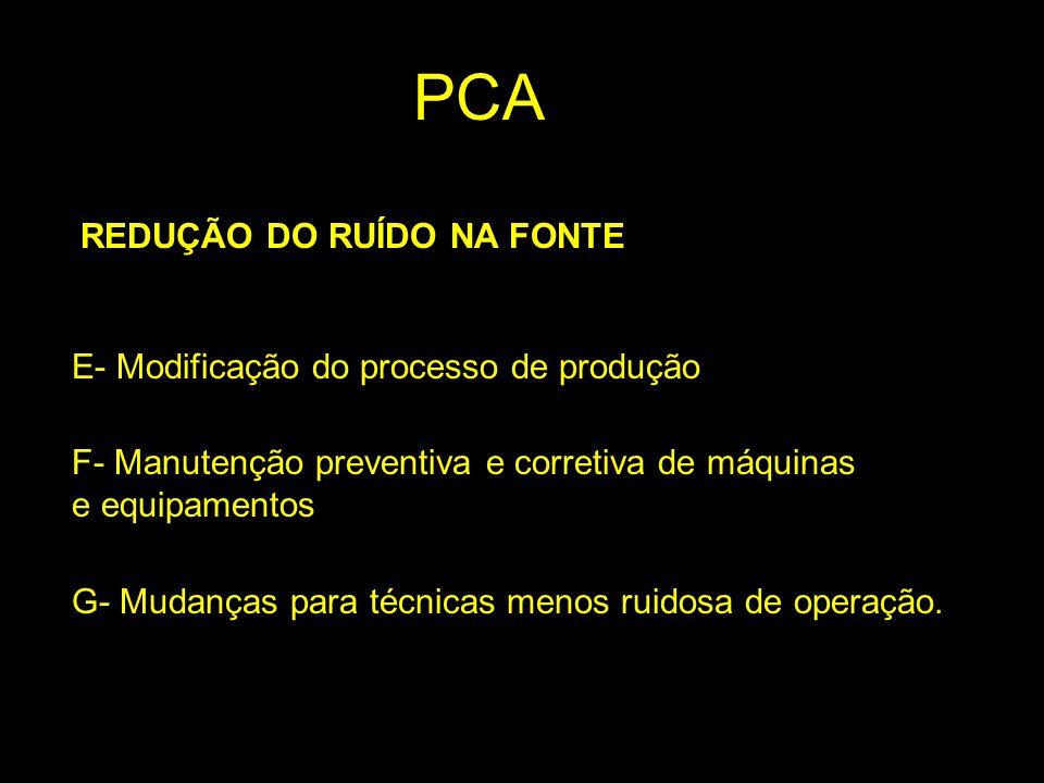 REDUÇÃO DO RUÍDO NA FONTE E- Modificação do processo de produção F- Manutenção preventiva e corretiva de máquinas e equipamentos G- Mudanças para técn