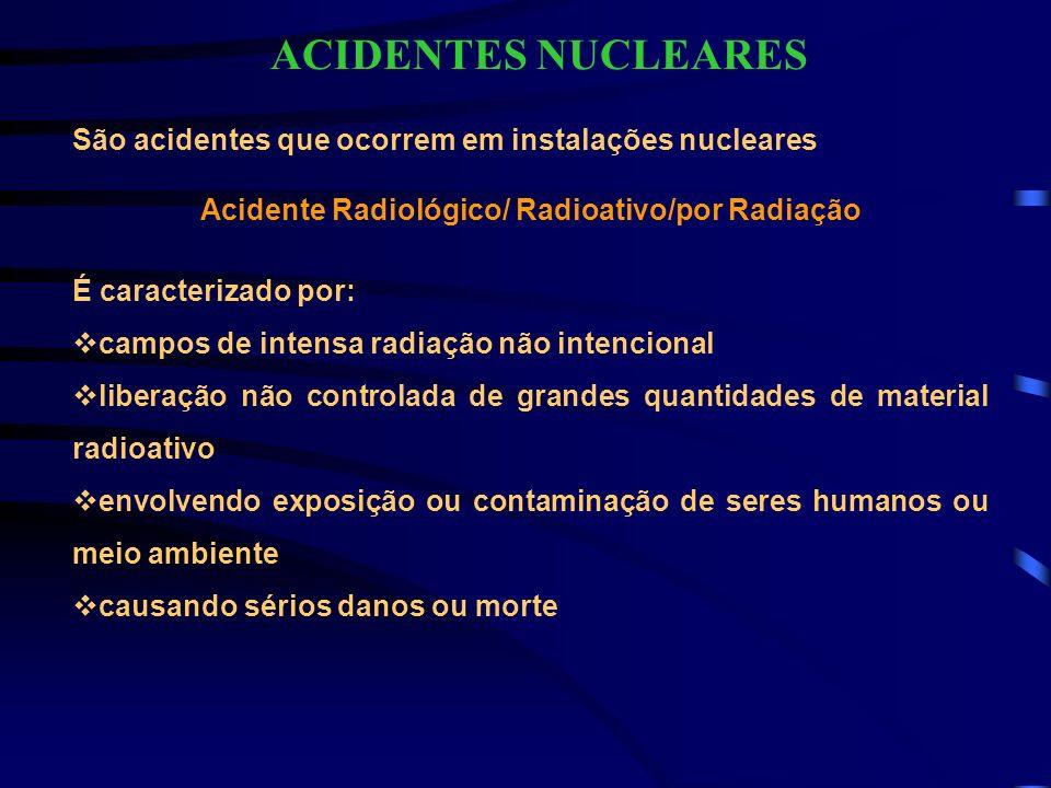 São acidentes que ocorrem em instalações nucleares Acidente Radiológico/ Radioativo/por Radiação É caracterizado por: campos de intensa radiação não i