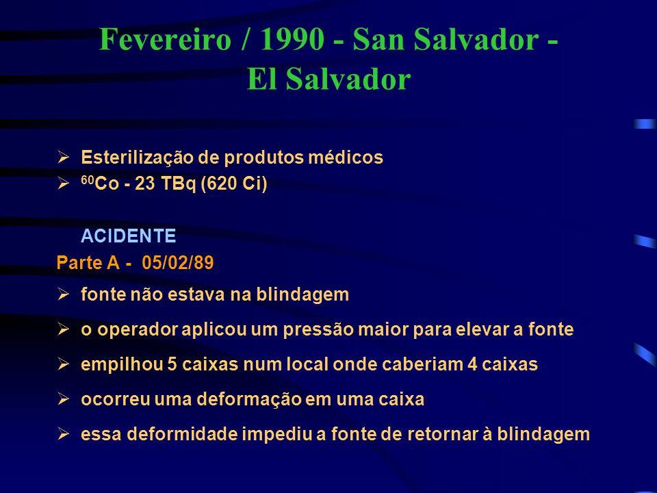 Fevereiro / 1990 - San Salvador - El Salvador Esterilização de produtos médicos 60 Co - 23 TBq (620 Ci) ACIDENTE Parte A - 05/02/89 fonte não estava n