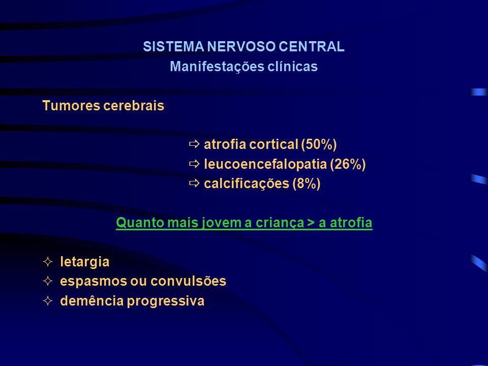 SISTEMA NERVOSO CENTRAL Manifestações clínicas Tumores cerebrais atrofia cortical (50%) leucoencefalopatia (26%) calcificações (8%) Quanto mais jovem