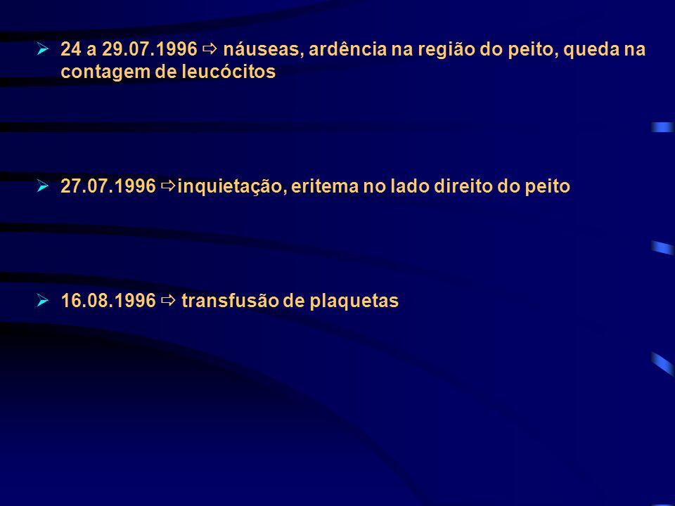 24 a 29.07.1996 náuseas, ardência na região do peito, queda na contagem de leucócitos 27.07.1996 inquietação, eritema no lado direito do peito 16.08.1