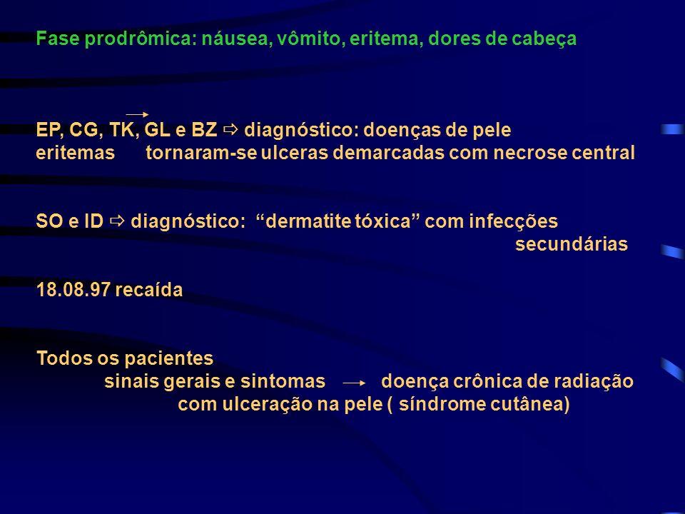 Fase prodrômica: náusea, vômito, eritema, dores de cabeça EP, CG, TK, GL e BZ diagnóstico: doenças de pele eritemas tornaram-se ulceras demarcadas com