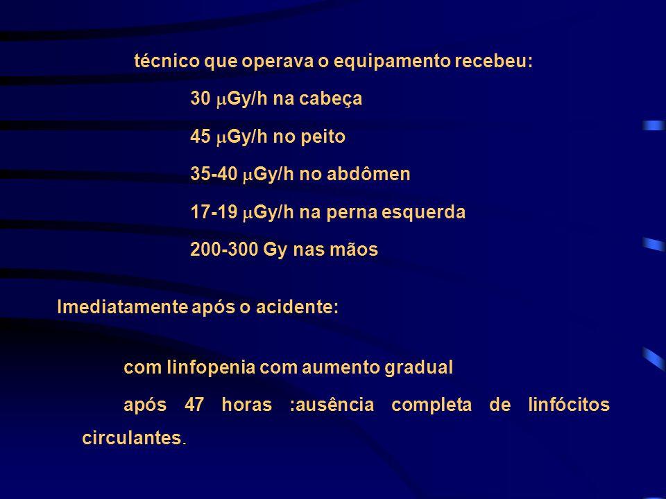 técnico que operava o equipamento recebeu: 30 Gy/h na cabeça 45 Gy/h no peito 35-40 Gy/h no abdômen 17-19 Gy/h na perna esquerda 200-300 Gy nas mãos I