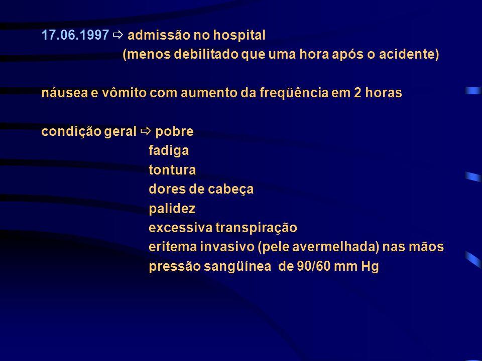 17.06.1997 admissão no hospital (menos debilitado que uma hora após o acidente) náusea e vômito com aumento da freqüência em 2 horas condição geral po