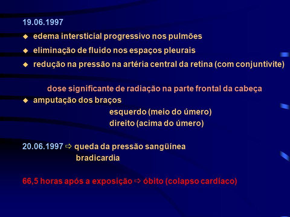 19.06.1997 edema intersticial progressivo nos pulmões eliminação de fluido nos espaços pleurais redução na pressão na artéria central da retina (com c