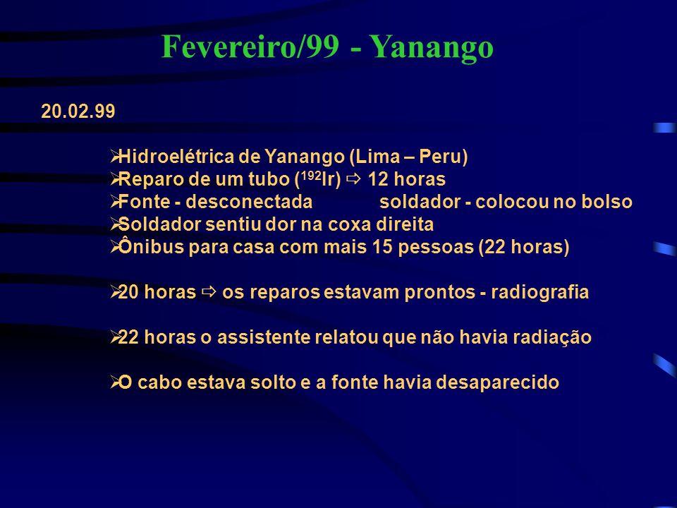 Fevereiro/99 - Yanango 20.02.99 Hidroelétrica de Yanango (Lima – Peru) Reparo de um tubo ( 192 Ir) 12 horas Fonte - desconectada soldador - colocou no