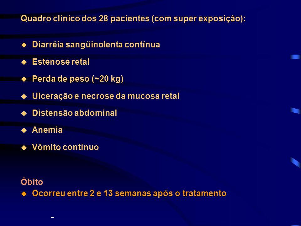 Quadro clínico dos 28 pacientes (com super exposição): Diarréia sangüinolenta contínua Estenose retal Perda de peso (~20 kg) Ulceração e necrose da mu