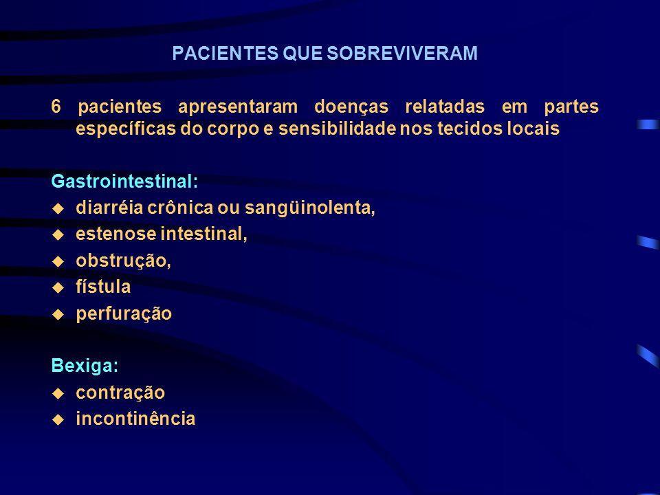 PACIENTES QUE SOBREVIVERAM 6 pacientes apresentaram doenças relatadas em partes específicas do corpo e sensibilidade nos tecidos locais Gastrointestin