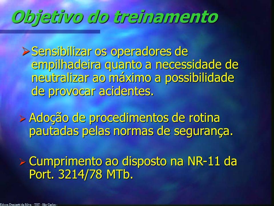 Edson Donizetti da Silva - TST - São Carlos - SP Objetivo do treinamento Sensibilizar os operadores de empilhadeira quanto a necessidade de neutralizar ao máximo a possibilidade de provocar acidentes.