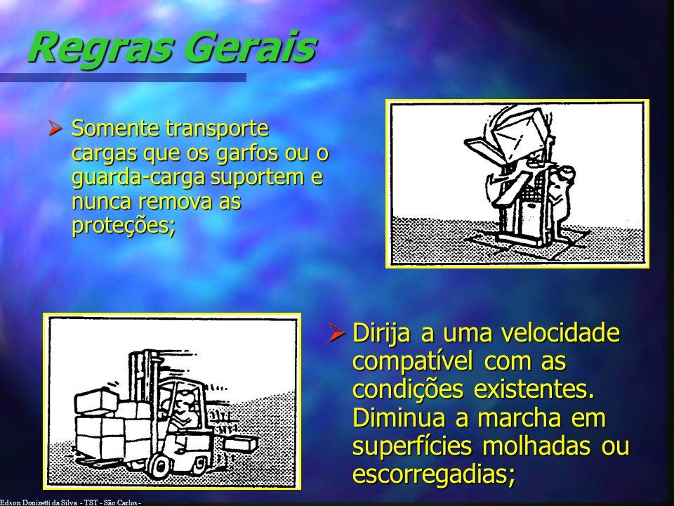 Edson Donizetti da Silva - TST - São Carlos - SP Regras Gerais No início de cada turno, certifique-se de que a buzina, os freios, os pneus e todos os