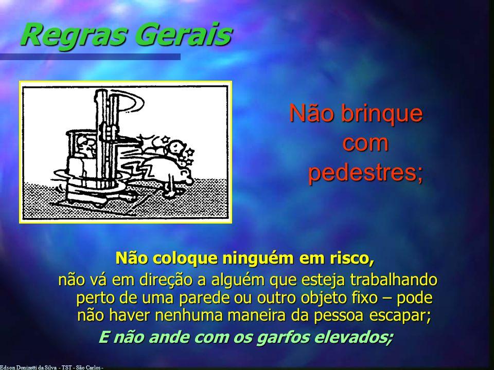 Edson Donizetti da Silva - TST - São Carlos - SP Regras Gerais Obedeça a todos os sinais e demarcações, dirija devagar e acione a buzina quando necess