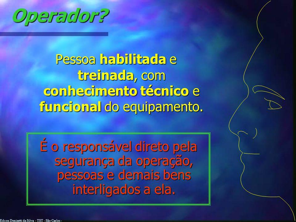 Edson Donizetti da Silva - TST - São Carlos - SP Em caso de capotamento SEGURE FIRMEMENTE AO VOLANTE DE DIREÇÃO