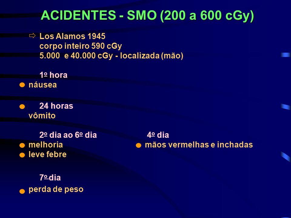 ACIDENTES - SMO (200 a 600 cGy) Los Alamos 1945 corpo inteiro 590 cGy 5.000 e 40.000 cGy - localizada (mão) 1 o hora náusea 24 horas vômito 2 o dia ao