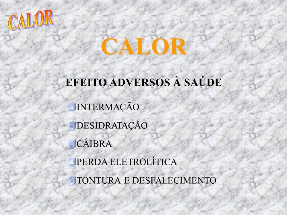 CALOR EFEITO ADVERSOS À SAÚDE 4INTERMAÇÃO 4DESIDRATAÇÃO 4CÂIBRA 4PERDA ELETROLÍTICA 4TONTURA E DESFALECIMENTO