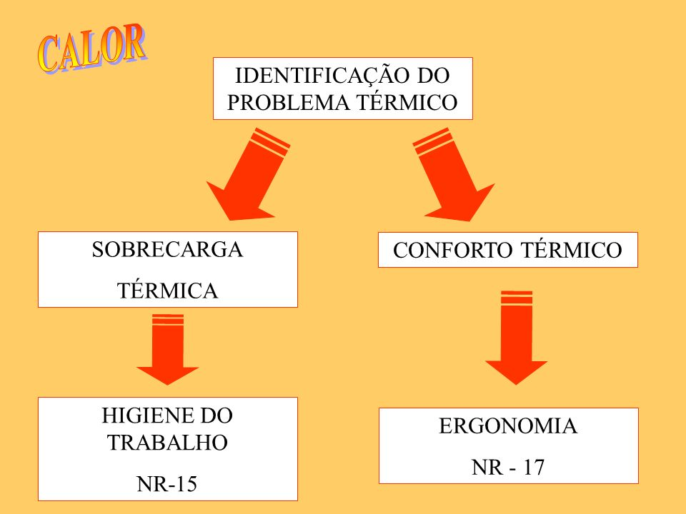 IDENTIFICAÇÃO DO PROBLEMA TÉRMICO CONFORTO TÉRMICO SOBRECARGA TÉRMICA HIGIENE DO TRABALHO NR-15 ERGONOMIA NR - 17