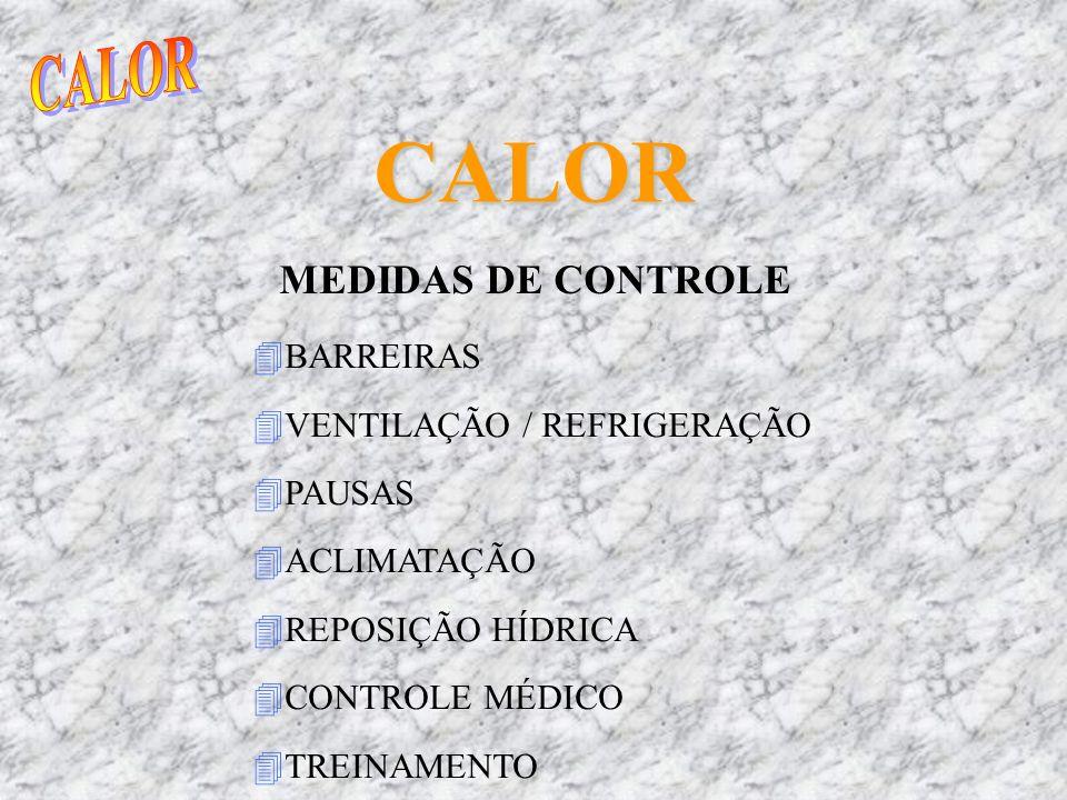 CALOR MEDIDAS DE CONTROLE 4BARREIRAS 4VENTILAÇÃO / REFRIGERAÇÃO 4PAUSAS 4ACLIMATAÇÃO 4REPOSIÇÃO HÍDRICA 4CONTROLE MÉDICO 4TREINAMENTO
