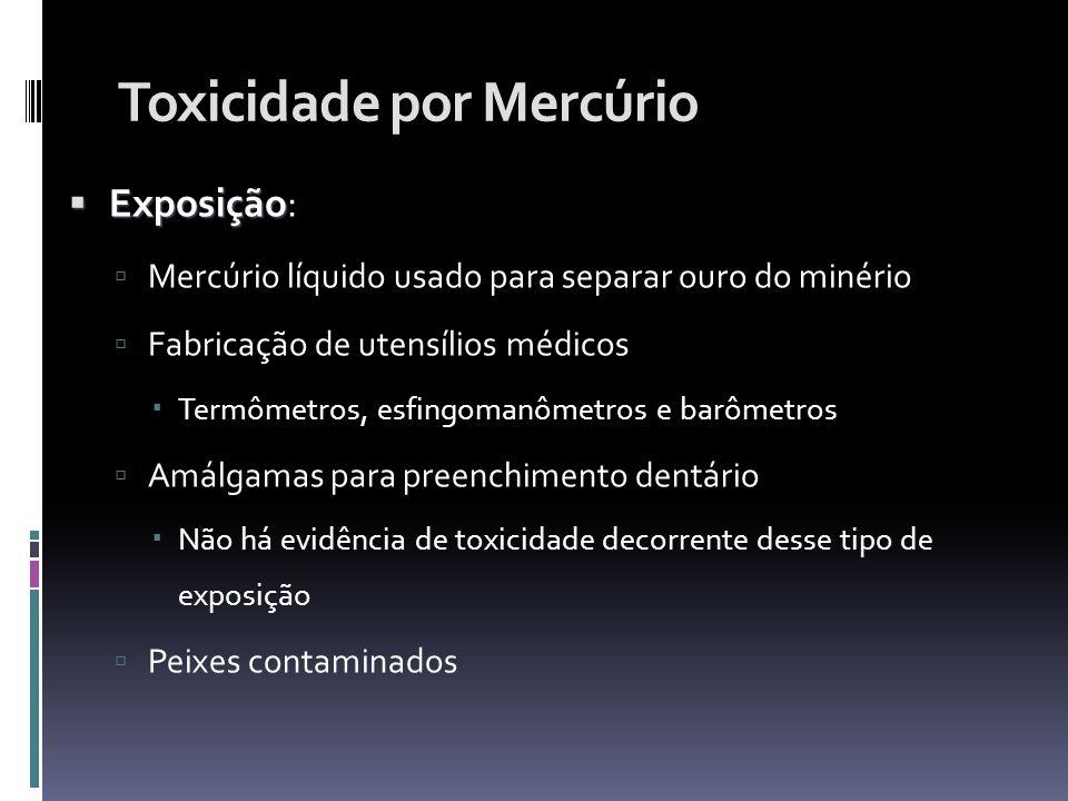 Toxicidade por Mercúrio Exposição Exposição: Mercúrio líquido usado para separar ouro do minério Fabricação de utensílios médicos Termômetros, esfingo