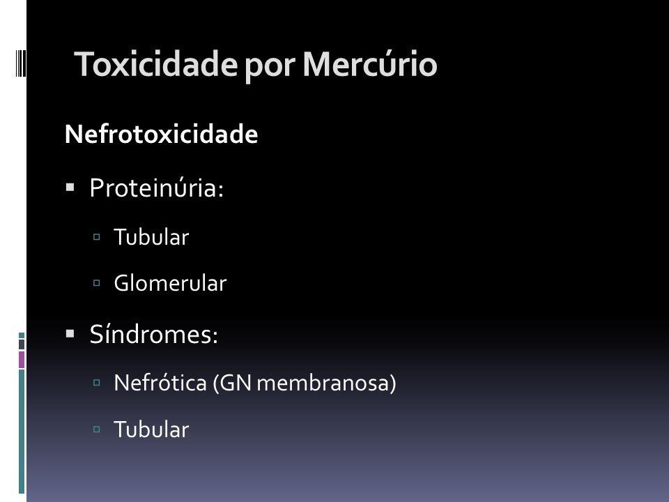 Toxicidade por Mercúrio Nefrotoxicidade Proteinúria: Tubular Glomerular Síndromes: Nefrótica (GN membranosa) Tubular