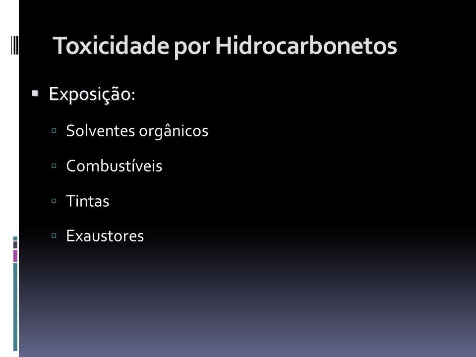 Toxicidade por Hidrocarbonetos Exposição Exposição: Solventes orgânicos Combustíveis Tintas Exaustores