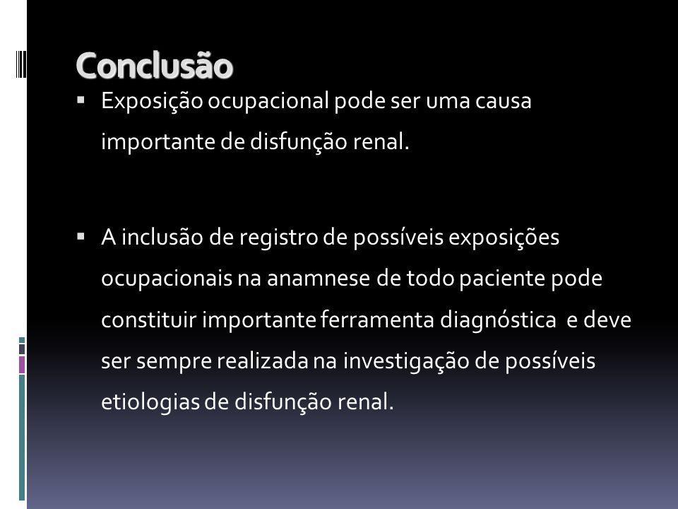 Conclusão Exposição ocupacional pode ser uma causa importante de disfunção renal. A inclusão de registro de possíveis exposições ocupacionais na anamn