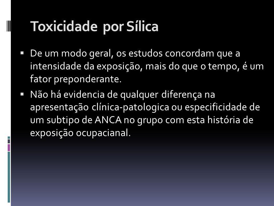 Toxicidade por Sílica De um modo geral, os estudos concordam que a intensidade da exposição, mais do que o tempo, é um fator preponderante. Não há evi