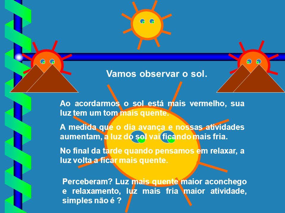 Vamos observar o sol. Perceberam? Luz mais quente maior aconchego e relaxamento, luz mais fria maior atividade, simples não é ? Ao acordarmos o sol es