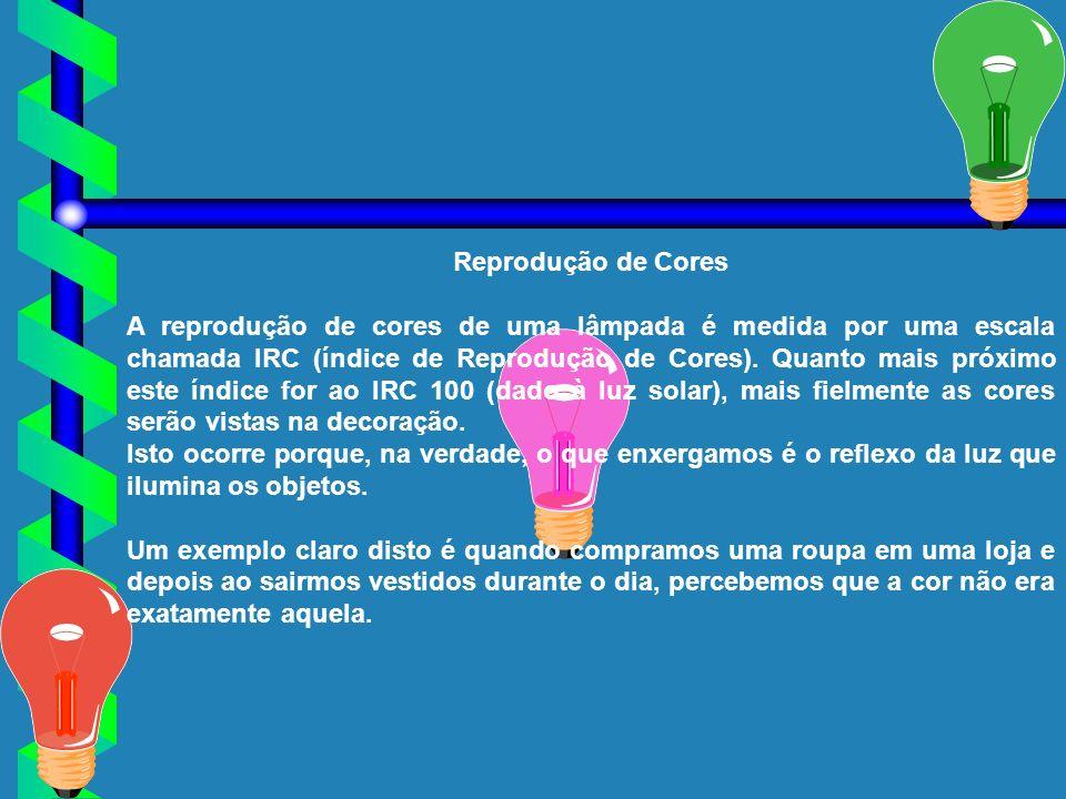 Reprodução de Cores A reprodução de cores de uma lâmpada é medida por uma escala chamada IRC (índice de Reprodução de Cores). Quanto mais próximo este