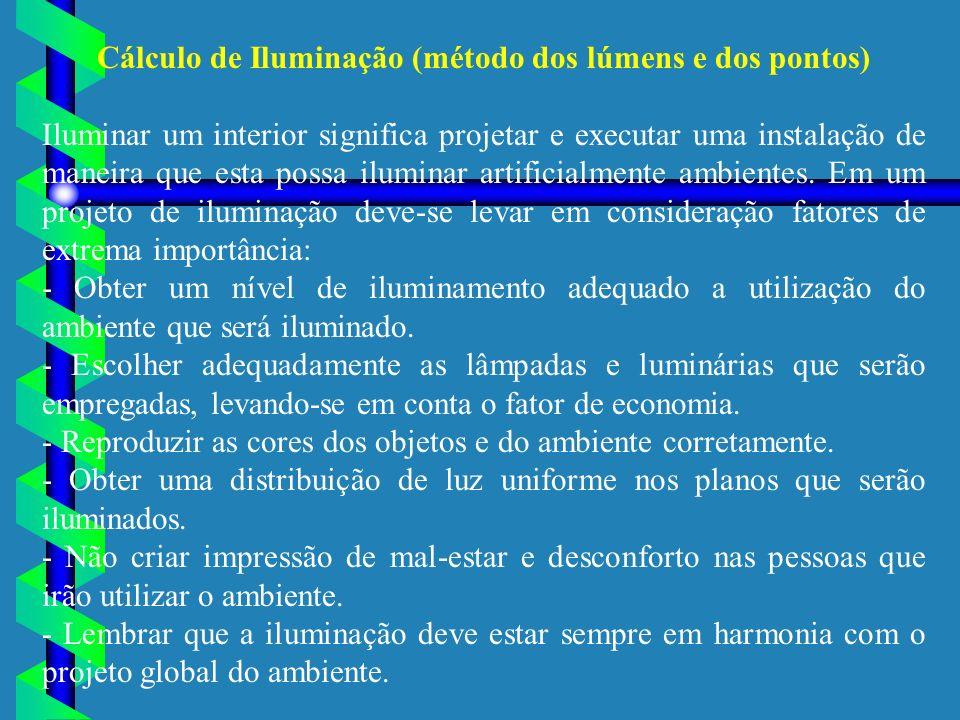 Cálculo de Iluminação (método dos lúmens e dos pontos) Iluminar um interior significa projetar e executar uma instalação de maneira que esta possa ilu
