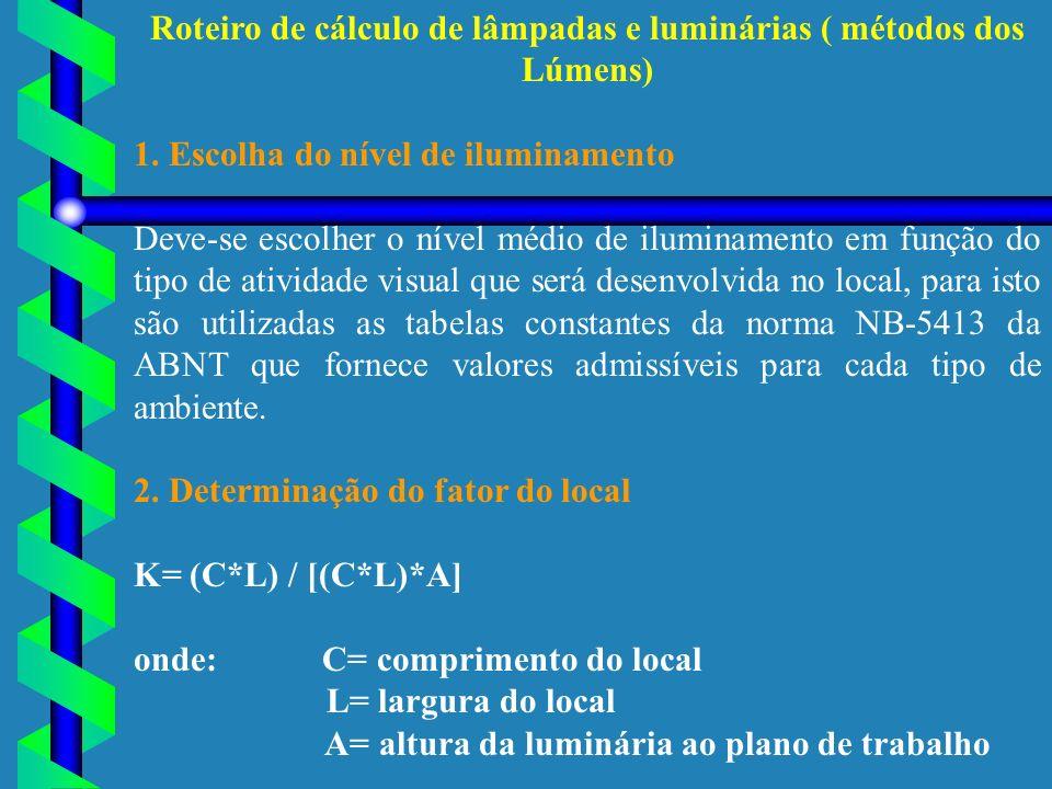 Roteiro de cálculo de lâmpadas e luminárias ( métodos dos Lúmens) 1. Escolha do nível de iluminamento Deve-se escolher o nível médio de iluminamento e
