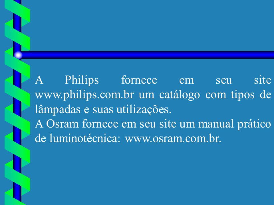 A Philips fornece em seu site www.philips.com.br um catálogo com tipos de lâmpadas e suas utilizações. A Osram fornece em seu site um manual prático d