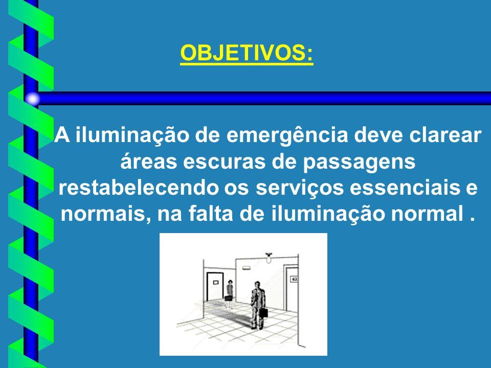 OBJETIVOS: A iluminação de emergência deve clarear áreas escuras de passagens restabelecendo os serviços essenciais e normais, na falta de iluminação