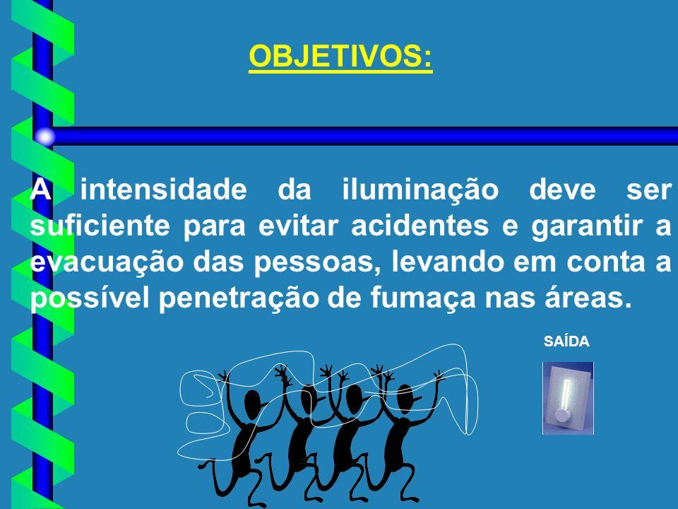 OBJETIVOS: A intensidade da iluminação deve ser suficiente para evitar acidentes e garantir a evacuação das pessoas, levando em conta a possível penet