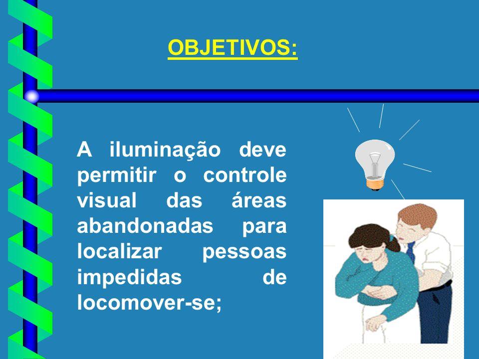 OBJETIVOS: A iluminação deve permitir o controle visual das áreas abandonadas para localizar pessoas impedidas de locomover-se;