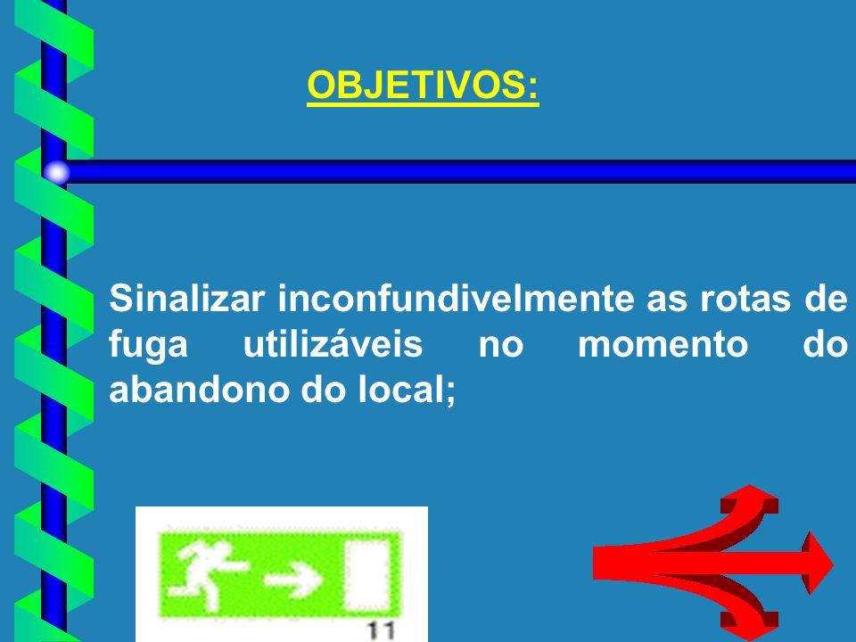 OBJETIVOS: Sinalizar inconfundivelmente as rotas de fuga utilizáveis no momento do abandono do local;