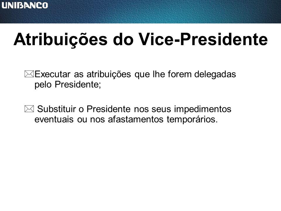 Atribuições do Vice-Presidente *Executar as atribuições que lhe forem delegadas pelo Presidente; * Substituir o Presidente nos seus impedimentos event