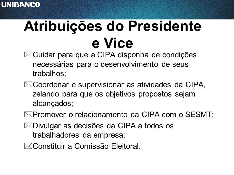 Atribuições do Presidente e Vice *Cuidar para que a CIPA disponha de condições necessárias para o desenvolvimento de seus trabalhos; *Coordenar e supe