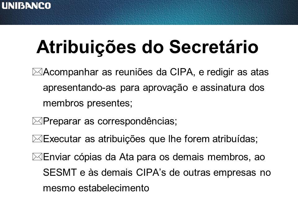 Atribuições do Secretário *Acompanhar as reuniões da CIPA, e redigir as atas apresentando-as para aprovação e assinatura dos membros presentes; *Prepa