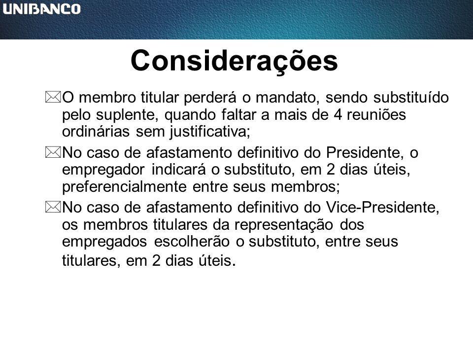 Considerações *O membro titular perderá o mandato, sendo substituído pelo suplente, quando faltar a mais de 4 reuniões ordinárias sem justificativa; *