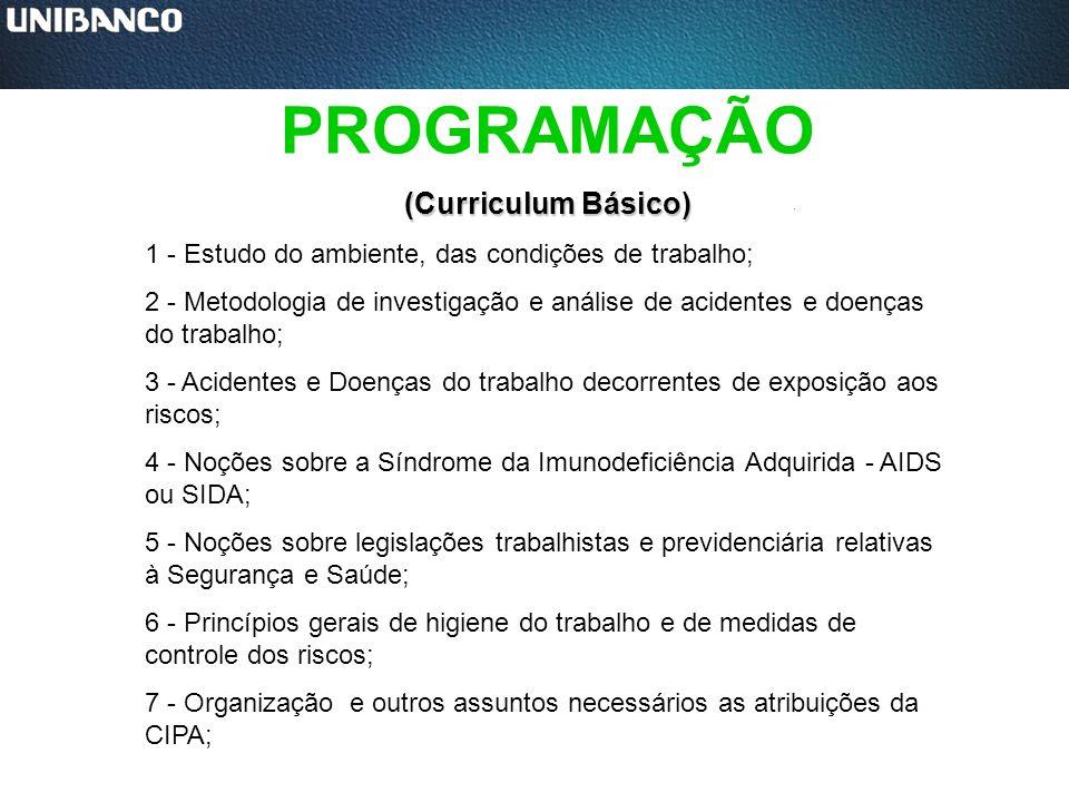PROGRAMAÇÃO (Curriculum Básico) 1 - Estudo do ambiente, das condições de trabalho; 2 - Metodologia de investigação e análise de acidentes e doenças do