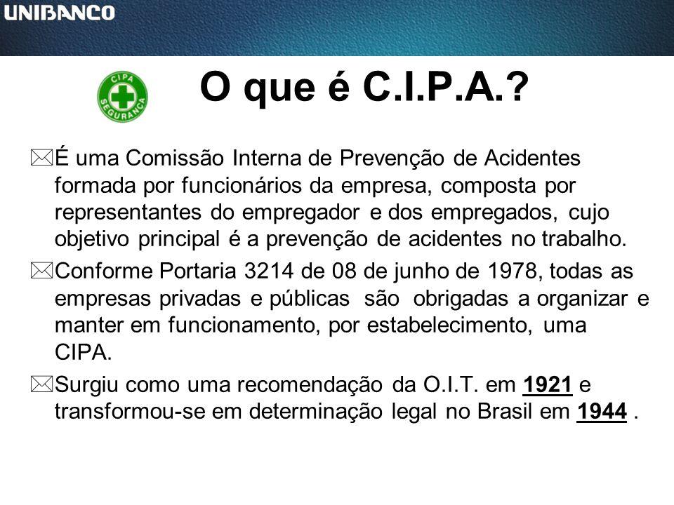 O que é C.I.P.A.? *É uma Comissão Interna de Prevenção de Acidentes formada por funcionários da empresa, composta por representantes do empregador e d